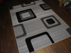 Modern Approx 8x5ft 160x230cm Woven Backed Silver-Black Top Quality Squares Rugs